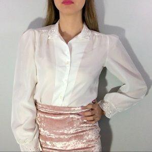 80's button front blouse